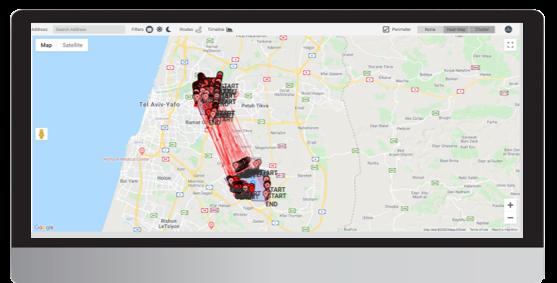 Urban Sensing Screen Map - Dual radius search + routs (Ben Gurion National Airport & Bnei Brak)