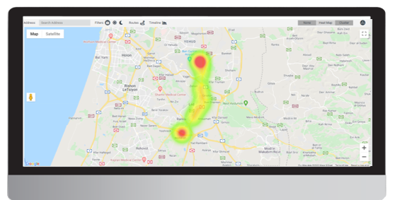 Urban Sensing screen map 2 - Route & destination tracking by device (from Ben Gurion NA)