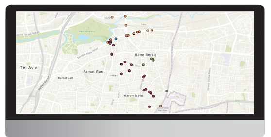 Urban Sensing - SYN-RG-Ai - Zoom in to singles, Bnei Brak area, color symbology by device