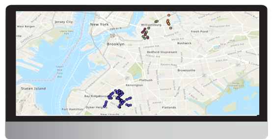 Urban Sensing - Zoom in to singles, NY area, color by device in adherence to BB area (left)